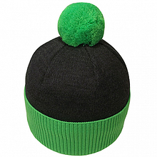 Шапка в спортивном стиле с бубоном  унисекс  цвет черный + зеленый