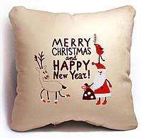 "Новогодняя подушка ""Merry Christmas and Happy New Year!"" 03"