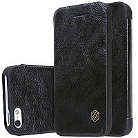 Кожаный чехол-книжка Nillkin Qin для Apple iPhone 5/5S/SE (Черный)