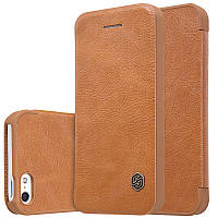 Кожаный чехол-книжка Nillkin Qin для Apple iPhone 5/5S/SE (Коричневый)