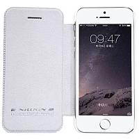 Кожаный чехол-книжка Nillkin Qin для Apple iPhone 5/5S/SE (Белый)