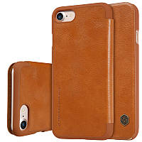 """Кожаный чехол-книжка Nillkin Qin для Apple iPhone 7 (4.7"""") (Коричневый)"""
