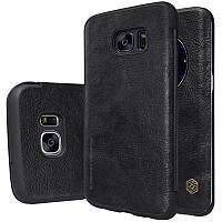 Кожаный чехол-книжка Nillkin Qin для Samsung G935F Galaxy S7 Edge (Черный)