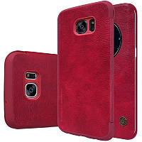 Кожаный чехол-книжка Nillkin Qin для Samsung G935F Galaxy S7 Edge (Красный)