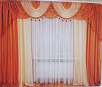 Шифоновые шторы двух цветов  с ламбрекеном с бахрамой на карниз 2.5м-3.5м высота 2.8м