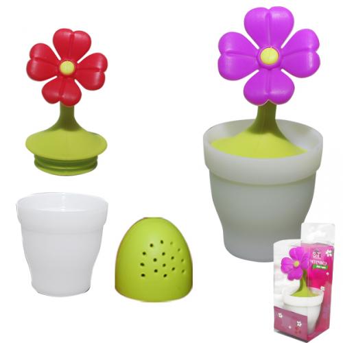 Ситечко для чая силиконовое +подставка Цветок в вазоне h10,5 см