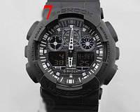 Часы Casio G-Shock GA100, наручные, спортивные часы, черные с черным циферблатом