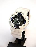 Наручные часы Casio G-Shock GA-100(белые с синим), спортивные,мужские часы, электронные, made in Japan