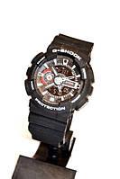 Часы наручные Casio G-Shock GA-110(черные с белым), кварцевые, спортивные, мужские часы, многофункциональные