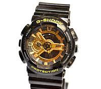 Многофункциональные часы Casio G-Shock Protection (черные с золотым), кварцевые, мужские, спортивные, наручные
