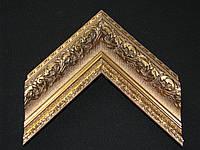 Багет пластиковый с лепниной яркого золотого цвета. Оформление вышивок, картин, икон