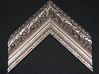 Багет пластиковый с лепниной яркого серебристого цвета. Оформление вышивок, картин, икон