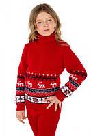 """Детский теплый шерстяной свитер """"Олени"""", для девочки, цвет красный,"""