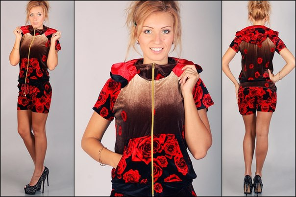 Бархатный модный костюм с розами с капюшоном красного цвета