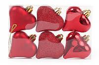 Набор елочных украшений Сердца красный