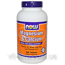 Now Foods, Магний и кальций, 250 таблеток