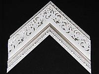 Белый пластиковый багет с лепниной. Оформление вышивок, картин, икон