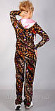 Оксамитовий спортивний костюм модного леопардового забарвлення з рожевим капюшоном, фото 3