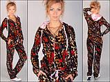 Оксамитовий спортивний костюм модного леопардового забарвлення з рожевим капюшоном, фото 4