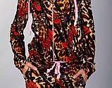 Бархатный спортивный костюм модной леопардовой расцветки с розовым капюшоном, фото 5