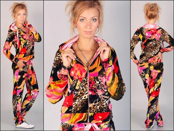 Леопардовый спортивный костюм из бархата для модных девушек