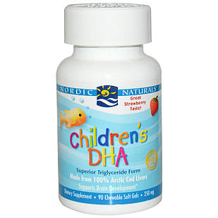 Nordic Naturals Omega-3 DHA 250 мг 90 шт жевательные витамины клубника