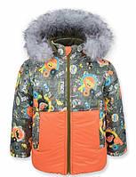 Детская зимняя куртка на мальчика ТИТАН оранж.р.р.98-110