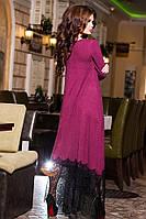 Роскошное женское каскадное платье из тонкой ангоры и очень красивого кружева
