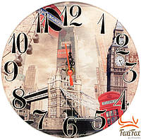 Круглые стеклянные часы на стену