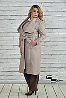 Демисезонное кашемировое  женское пальто батал   с 50  по 74 размер