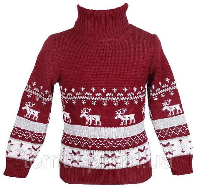 """Детский теплый шерстяной свитер """"Олени"""", для мальчика, цвет бордо,"""