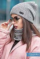 Комплект шапка + шарф труба  цвет серый меланж