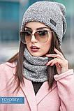 Комплект шапка + шарф труба  цвета синий бирюзовый и терракотовый, фото 4