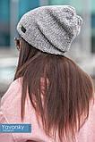 Комплект шапка + шарф труба  цвета синий бирюзовый и терракотовый, фото 5