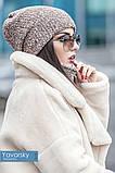 Комплект шапка + шарф труба  цвета синий бирюзовый и терракотовый, фото 6
