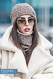Комплект шапка + шарф труба  цвета синий бирюзовый и терракотовый, фото 7