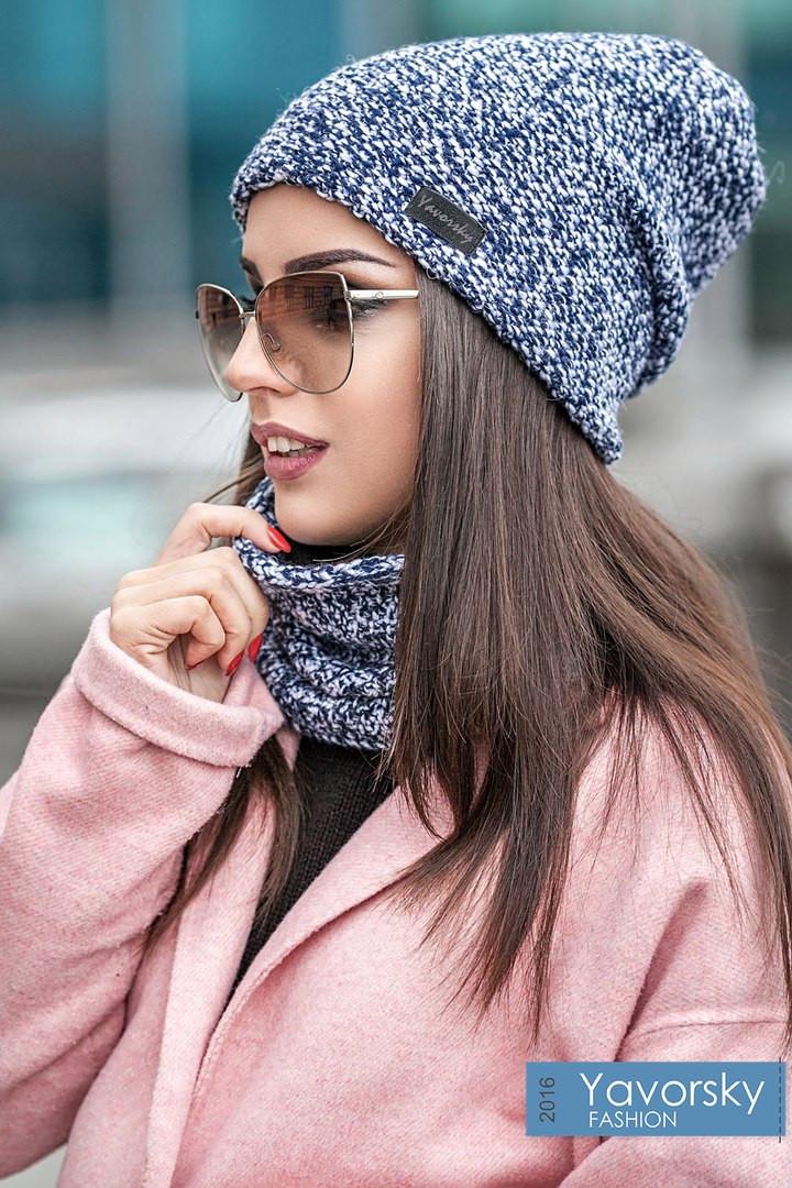 Комплект шапка + шарф труба  цвета синий бирюзовый и терракотовый