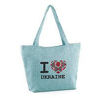 """Женская вышитая сумка-лодочка """"I love Ukraine"""", фото 1"""