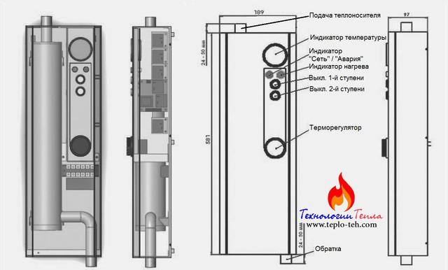 Схема электрокотла Тенко Эконом