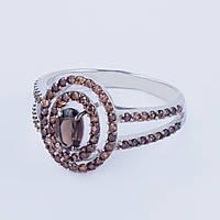 Кольцо с раух топазом (дымчатый кварц)