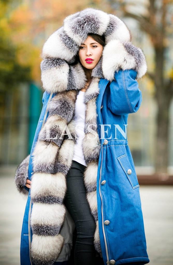 Парка джинсовая мех Blue frost L4