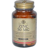 Solgar, Zinc,  цинка глюконат 50 мг 100 Tабл