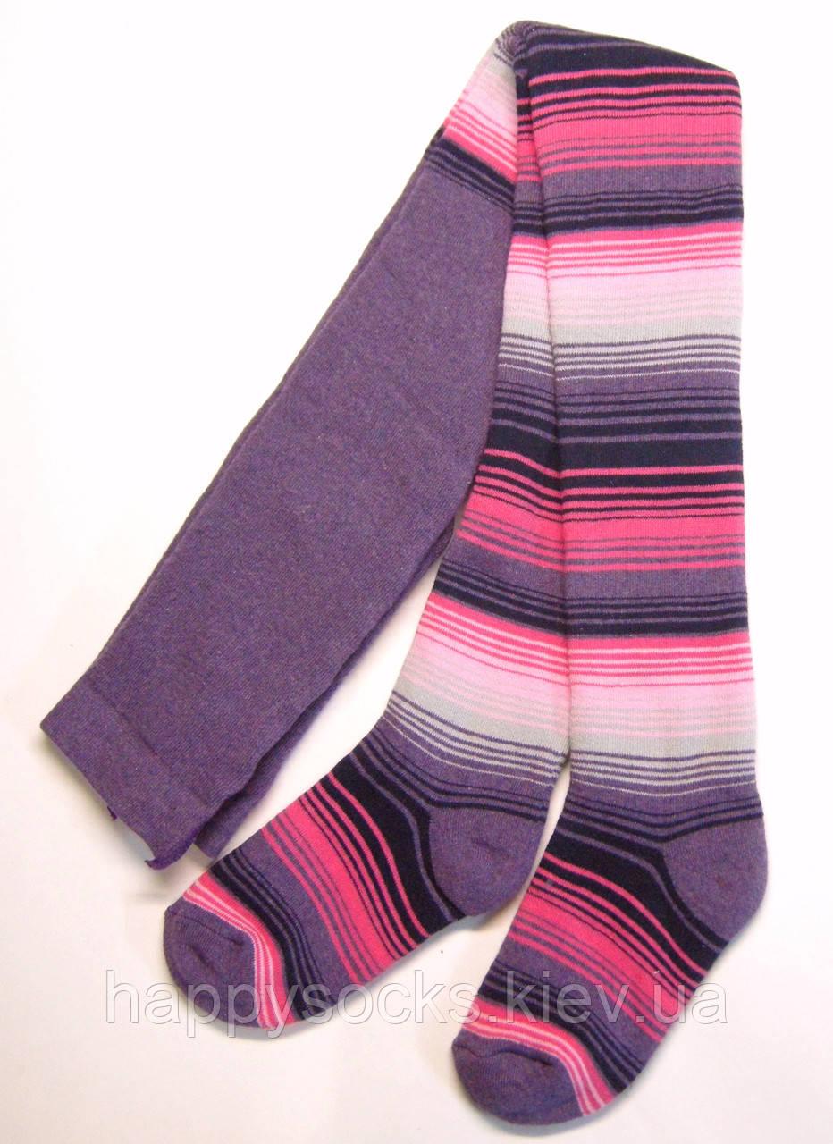 Фиолетовые махровые колготки в цветную полоску