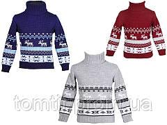 """Детский теплый, шерстяной свитер """"Олени"""" для девочек, оптом, фото 3"""