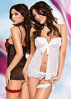 Сексуальный комплект нижнего белья Nadine (цвет белый, чёрный и чёрно-красный), фото 1