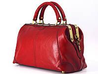 Саквояж Katana кожаный красный  женский на молнии Франция