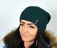 """Вязанная женская шапка """"Миледи"""" зеленый. Шапки женские."""