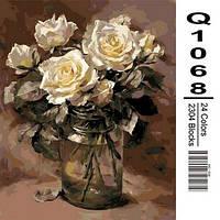 """Q1068 """"Белые розы в банке"""" Роспись по номерам на холсте 40х50см"""