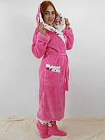 Длинный  женский халат с двойным капюшоном 022, размеры от 44 до 54, фото 5