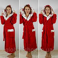 Длинный  женский халат с двойным капюшоном 022, размеры от 44 до 54, фото 3